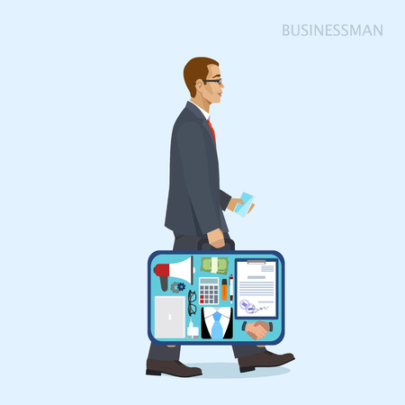 open suitcase: Businessman in a suit with an open suitcase, vector illustration Illustration