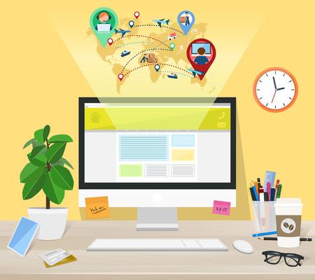 desktops: Computer on the desktop, ordering a delivery site, illustration Illustration