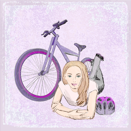 bicycling: Girl with bike Illustration
