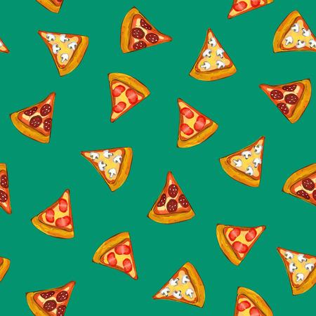 ピザのシームレスな飾りを背景色が水色、食品、イラスト  イラスト・ベクター素材