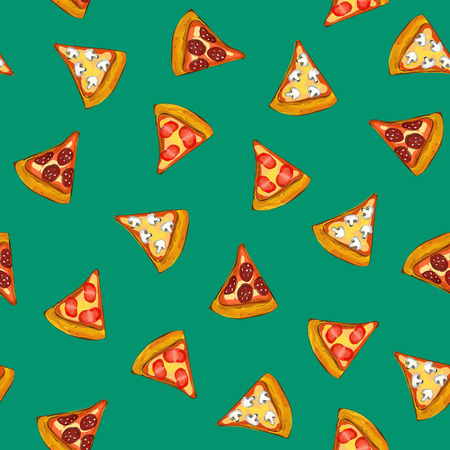 farinaceous: Pizza seamless ornament, turquoise background, food, illustration Illustration
