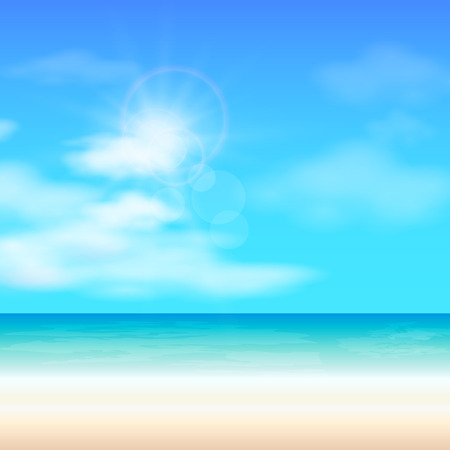 glint: Beach summer background, sun glare,  illustration