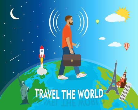smart phone: Traveler goes around the globe, telephone connection, vector illustration Illustration