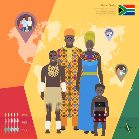 African family in national dress, infographics vector illustration