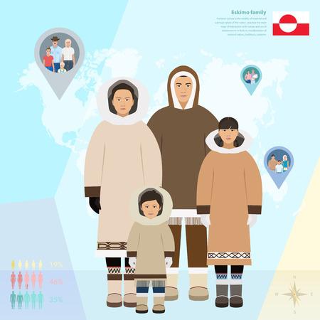eskimo: Eskimo family in national dress, infographics vector illustration