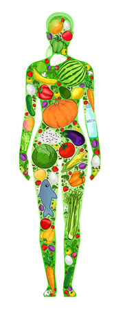 watermelon woman: Healthy woman food in the body, vector illustration