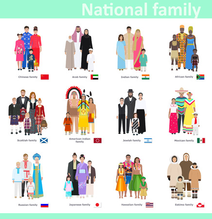 Families in national costume, different countries, vector illustration Çizim