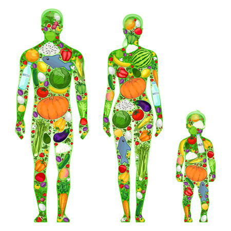 fat and slim: Healthy family, healthy food, illustration. Man, woman, child Stock Photo