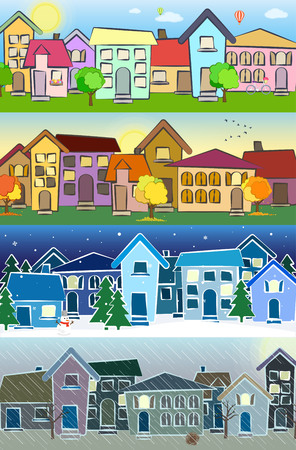 spring summer: Seasons. Summer, autumn, winter, spring. Weather. Vector illustration Illustration