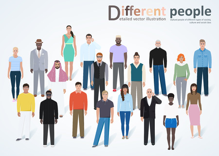 old business man: Set of different modern humans, rendering a detailed, vector illustration