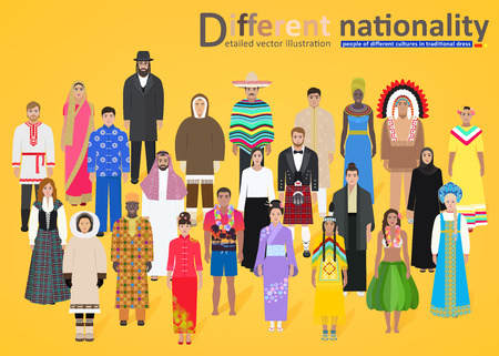 different types: Different peoples of the world in national costumes on yellow background, vector illustration