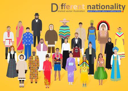 Les différents peuples du monde en costumes nationaux sur fond jaune, illustration vectorielle Vecteurs
