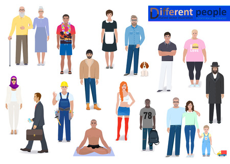 worker person: Modern different people, detailed vector illustration