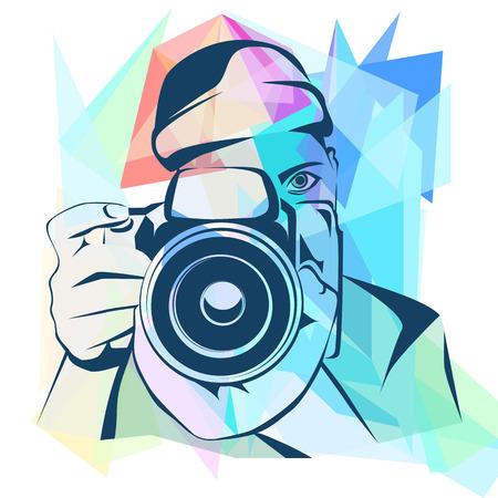 Photographer colored background, graphic, design, vector illustration Illustration