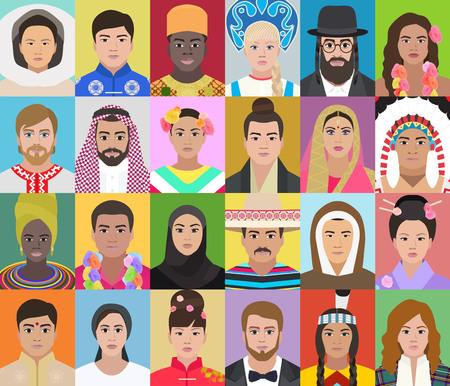 Ritratti di persone di diverse nazionalità, set illustrazione vettoriale Vettoriali