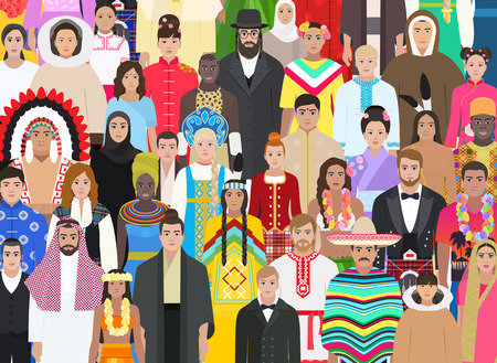 Crowd people of different races in national costumes, background vector illustration