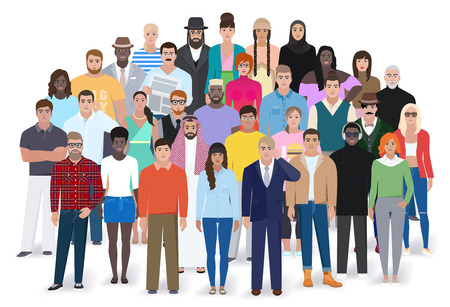 Creative group of different people, flat style, vector illustration