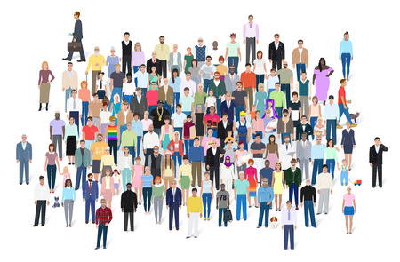 multitud gente: Crowd of different people, group vector illustration Vectores