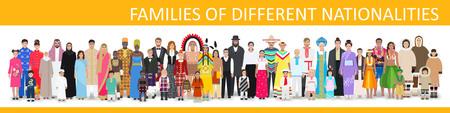 Gezinnen van verschillende nationaliteiten in kostuums, gedetailleerde tekening, vectorillustratie