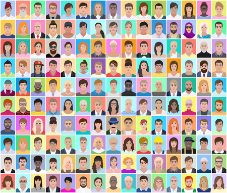 Portraits of different people, detailed drawing, colored collage, vector illustration