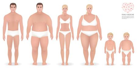 Obesity, family medicine, people in underwear, vector illustration Illustration