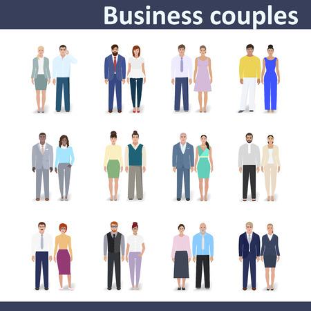 Business couple, detailed drawing, vector illustration Ilustração