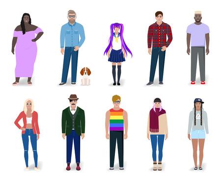 Ensemble de différentes personnes lumineuses, dessin détaillé, illustration vectorielle