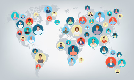 People world map, connection, vector illustration