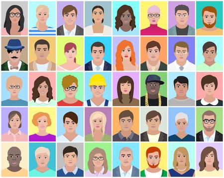 Diverse persone, ritratto, illustrazione vettoriale Archivio Fotografico - 94191412