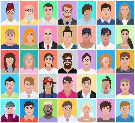 Set people, document photo, vector illustration
