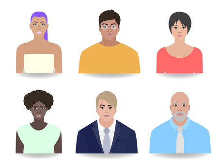 Office portraits of people, different clothes, vector illustration