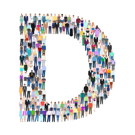 Letter D, group of people, vector illustration