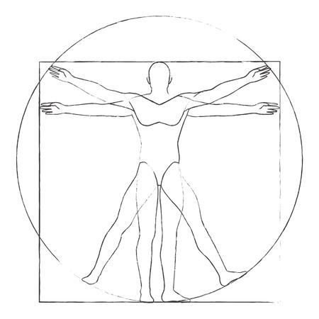 Vitruvian man drawing vector illustration Ilustrace