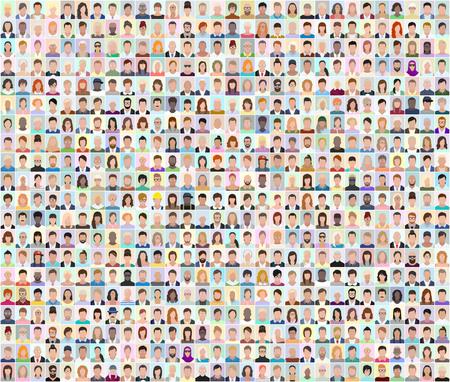 Set of people portraits, vector illustration Stock Illustratie