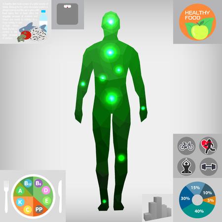 Healthy person, food, vector illustration Illustration