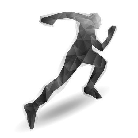 Running man stylized black abstraction vector illustration