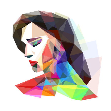 Girl stylized colorful, vector illustration