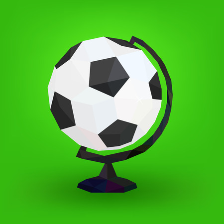 Soccer ball globe, faceted, on green background, vector illustration