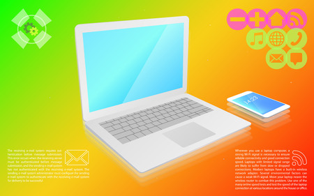 Laptop is a smartphone on a colorful background icons, infographics vector illustration