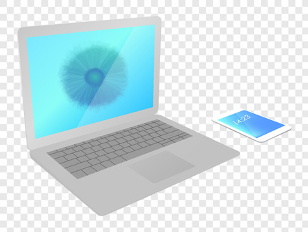 Laptop with smartphone flower screensaver, vector illustration