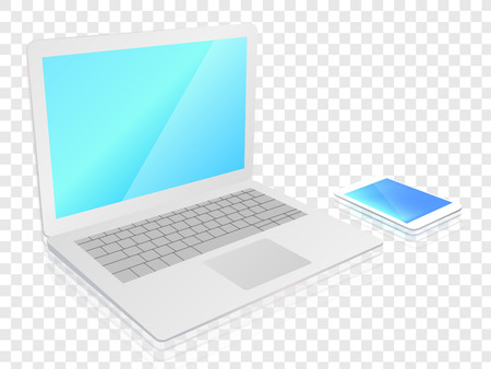 The laptop is a smartphone in the same plane vector illustration