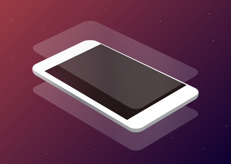 Glass on phone, space background, vector illustration