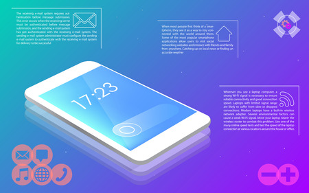 Phone on colorful background, menu icons, vector illustration