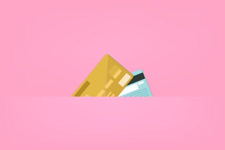 Credit cards on pink background, vector illustration Standard-Bild - 111586298
