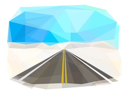 Winter mountain road, vector illustration Standard-Bild - 111557694