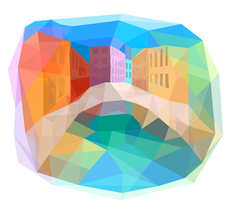 Colorful town of Italy, abstract vector illustration