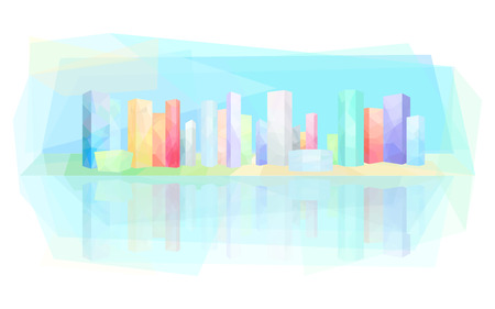 Colorful modern city, skyscrapers, construction of many houses, vector illustration
