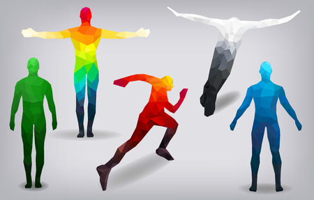People are multi-faceted, colorful, poses vector illustration
