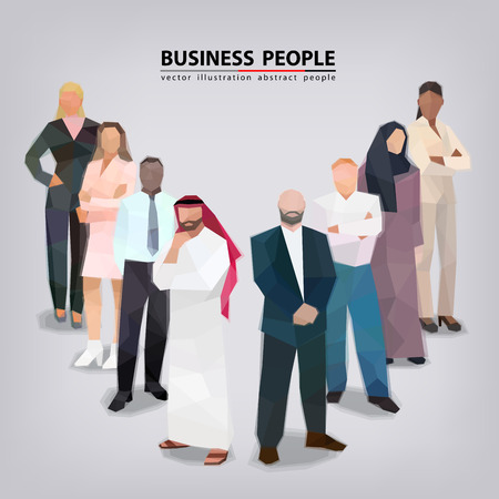 Group of business people of different nationalities, faces vector illustration Standard-Bild - 112436305