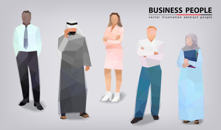 Collection of business people, different posture, faces vector illustration Standard-Bild - 112436306